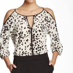 Trina Turk silk open shoulder blouse